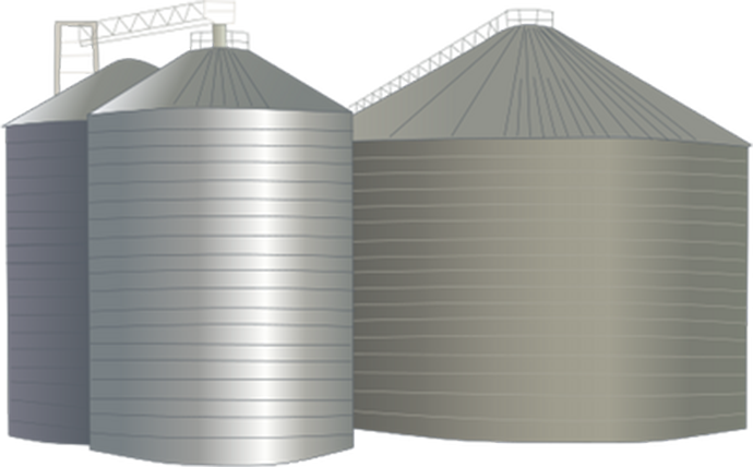 Silo vector icon. Grain elevator advantages