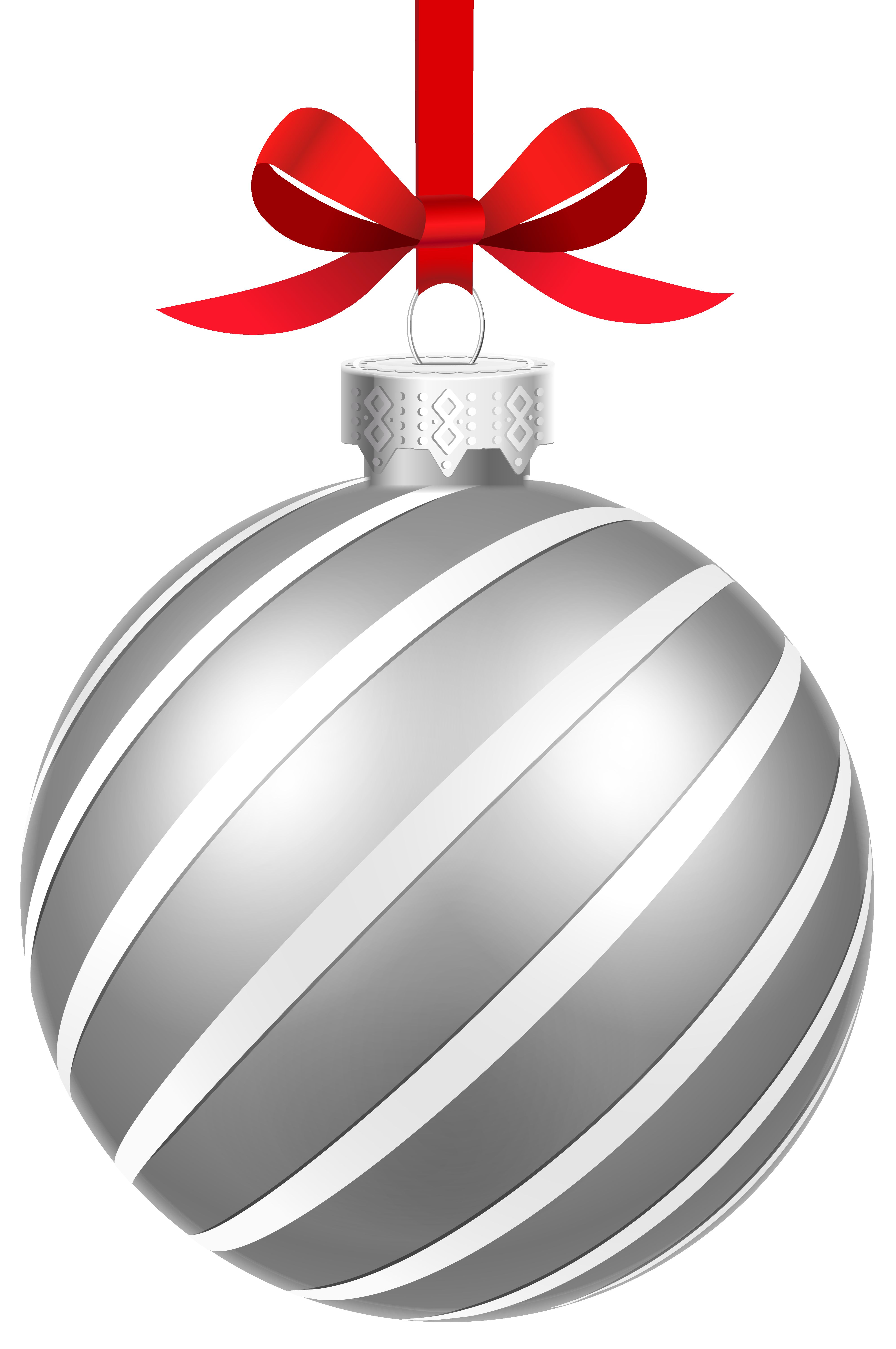 Silver christmas ornament png. Striped ball clipart image