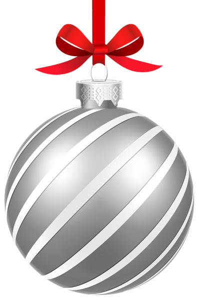 Silver christmas ornaments png. Striped ball clipart image