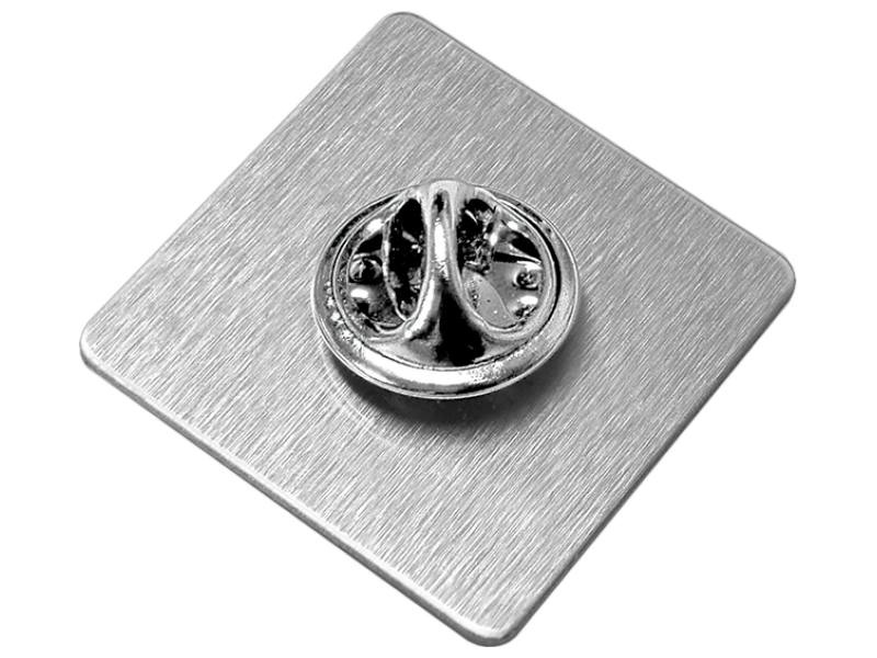 Silver clip badge. Name fittings britishmade badges