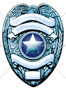 Silver clip badge. Police production ready artwork