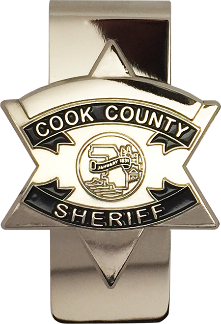 Silver clip badge. Cook county sheriff star