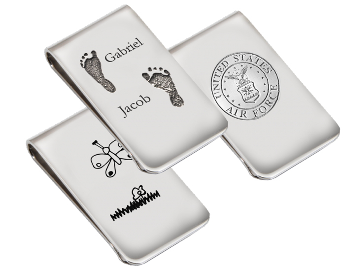 Silver clip pinch. Personalized money memorial gifts