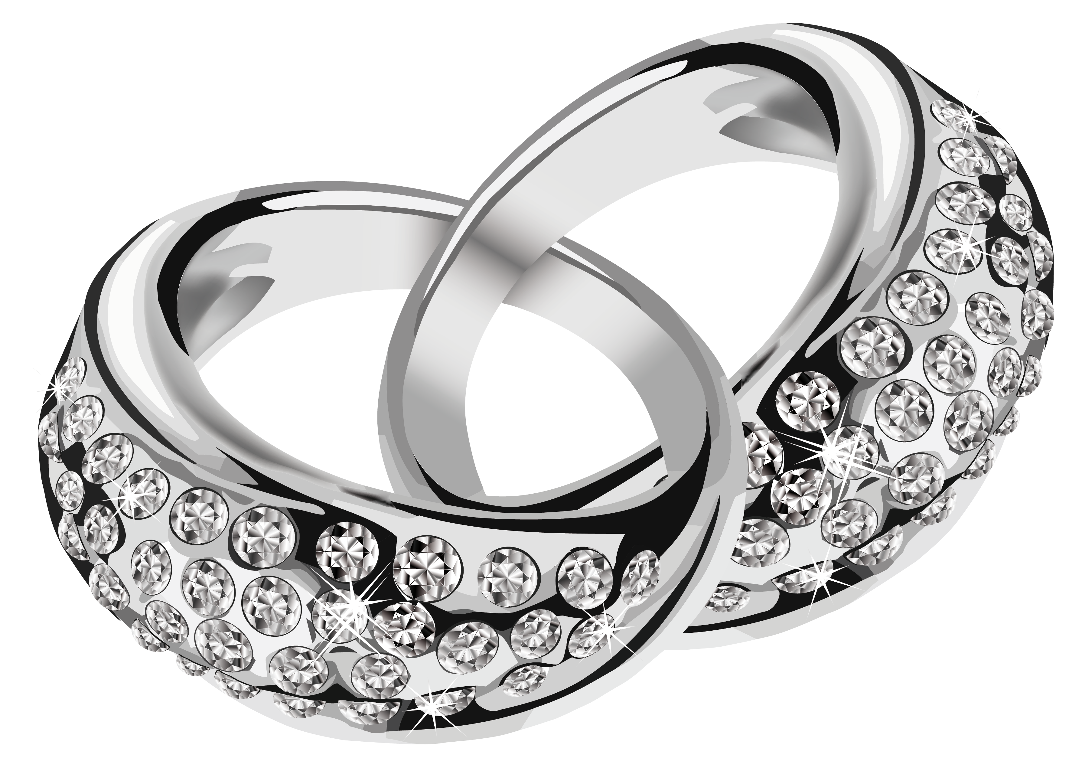 Silver rings with diamonds. Jewelry clip svg transparent