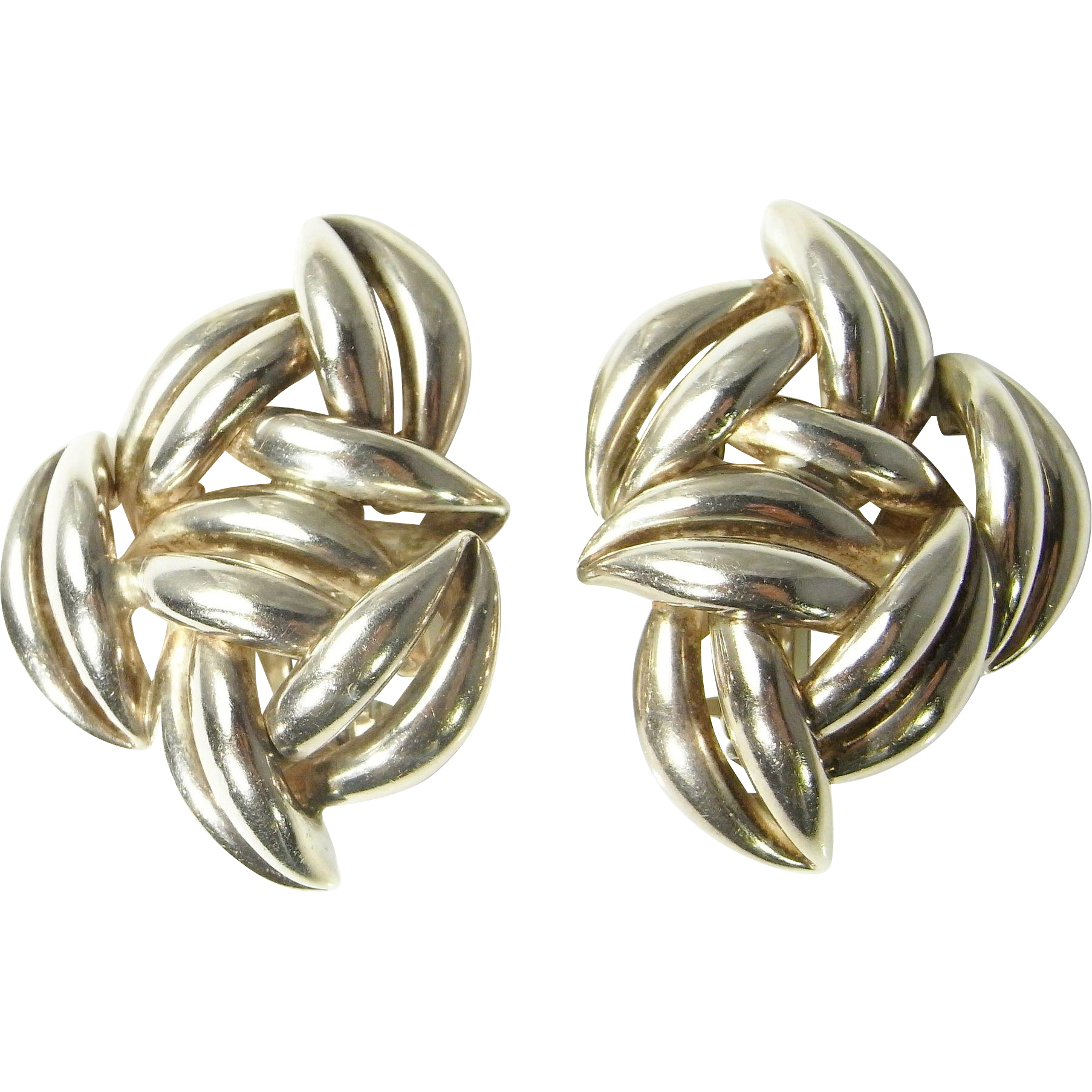 Silver clip sterling. Statement earrings on modernist