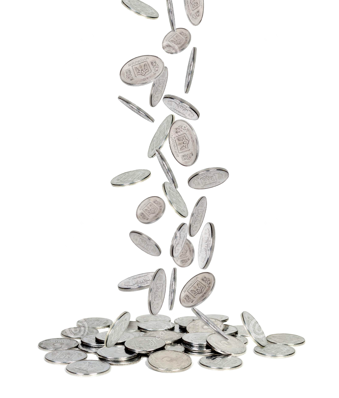 Falling coins png. Silver and gold coin