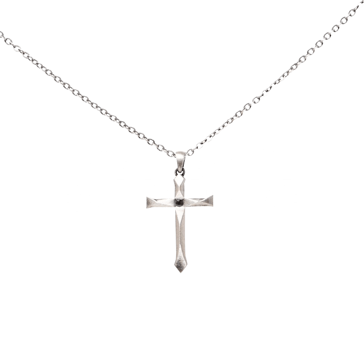 Silver cross necklace png
