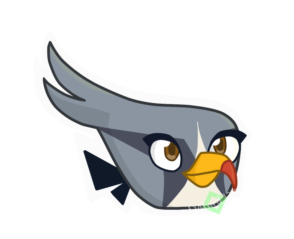 Silver drawing angry bird. Birds space clipart at