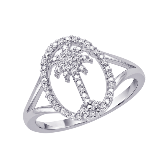Silver drawing diamond ring. Palm tree in oval