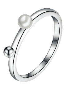 Silver drawing ring. Artificial pearl alloy ball