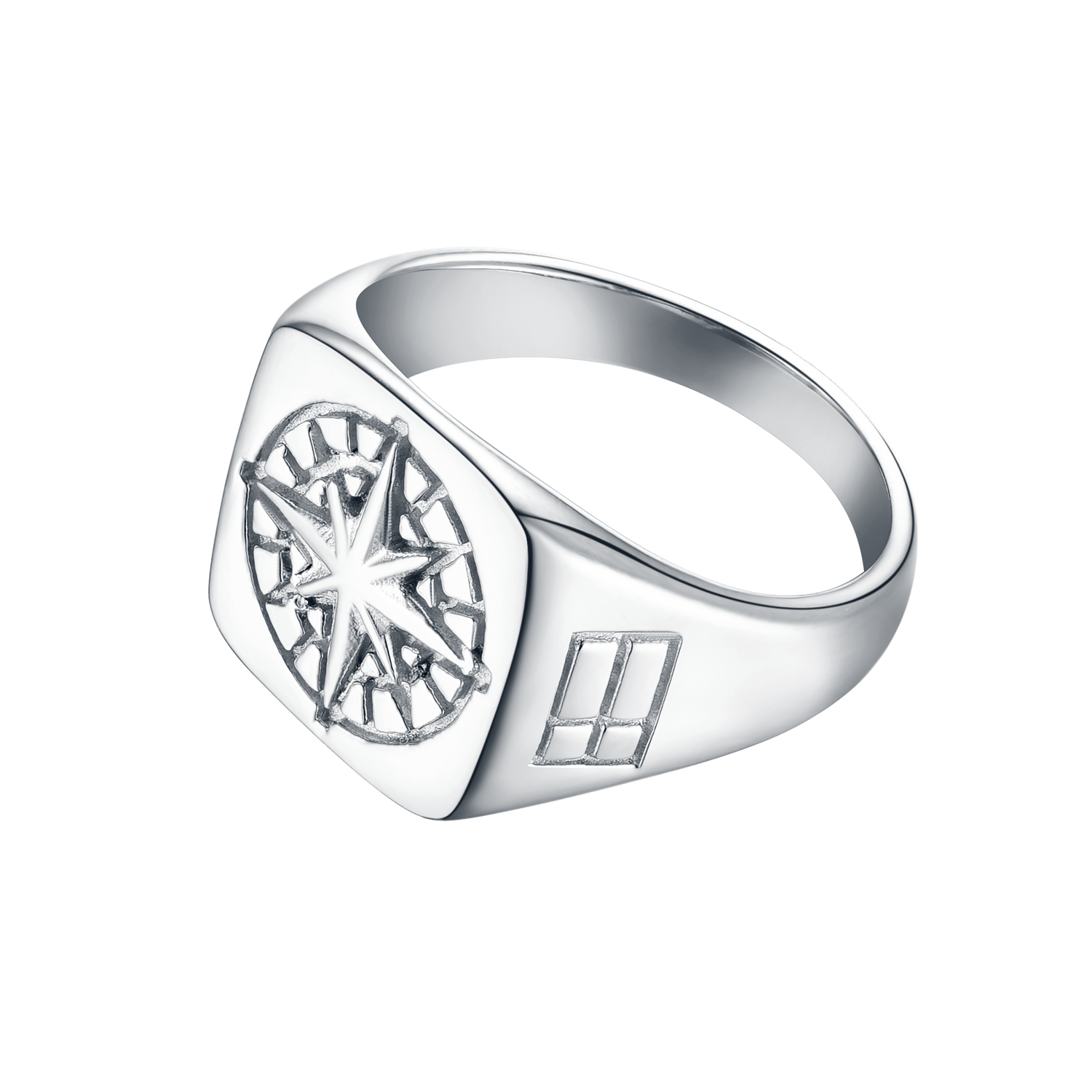 Silver drawing shiny metal. Compass signature ring l