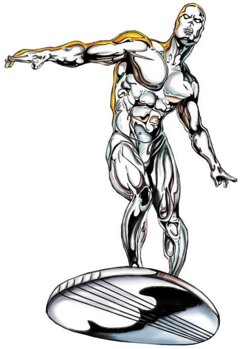 Silver drawing surfer. Image a png crossover