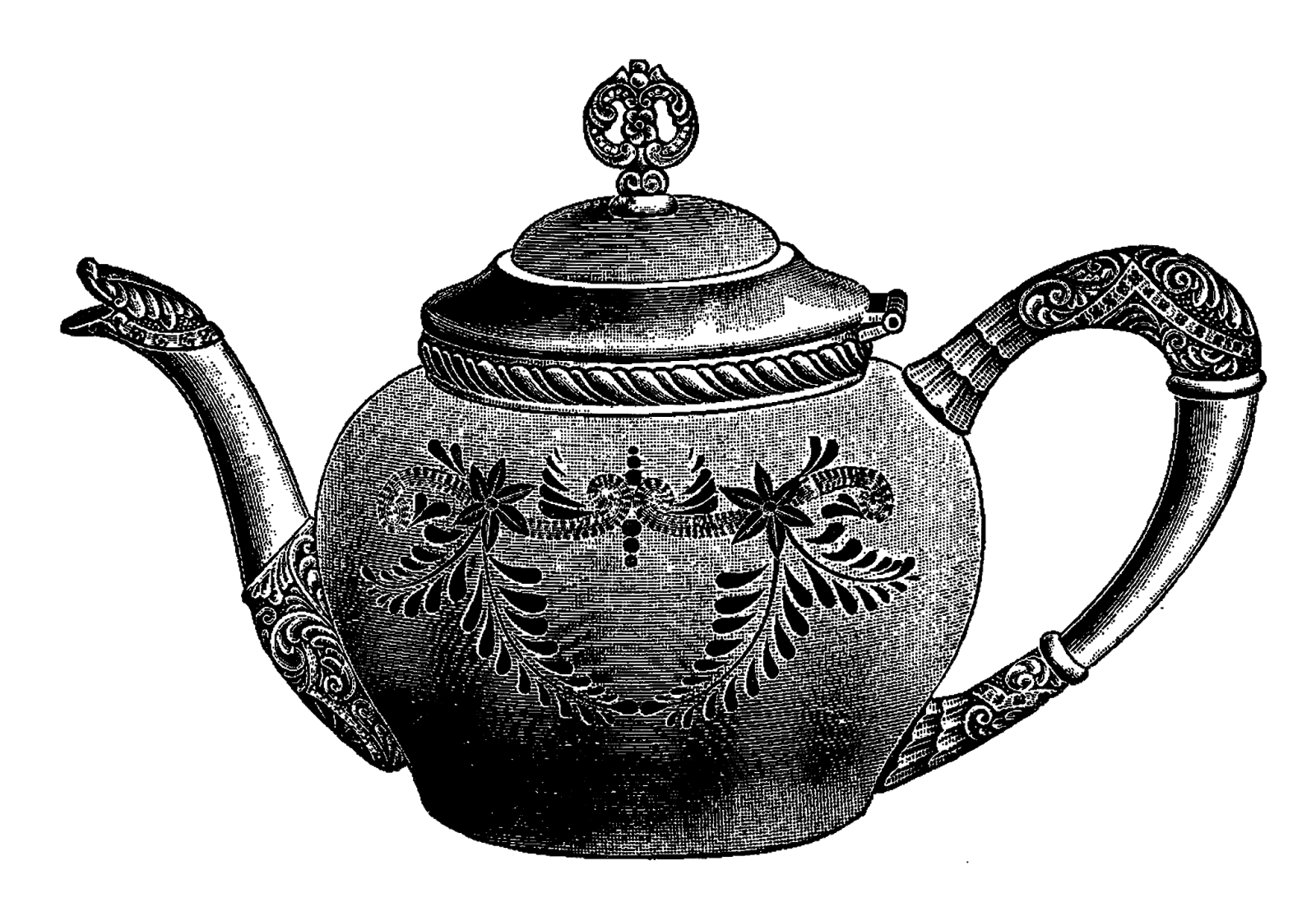 Silver drawing teapot. Drawn vintage pencil and