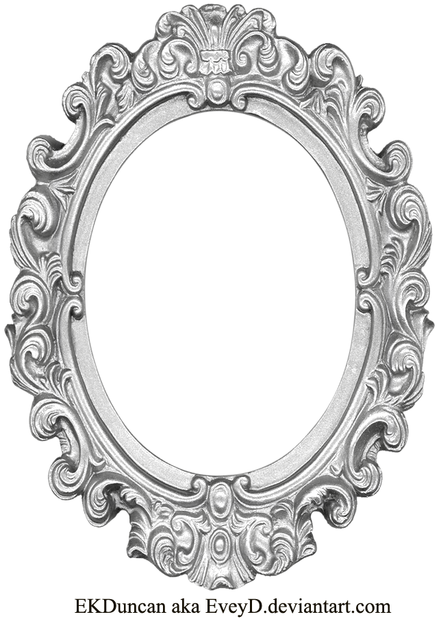 Silver frame png. Ornate long oval by