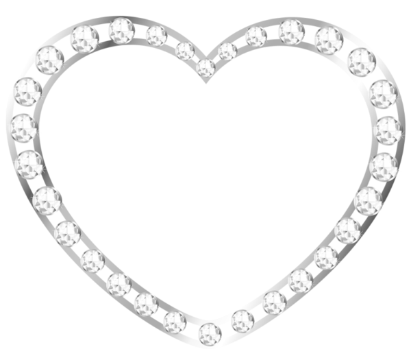 Silver heart png. With diamonds official psds