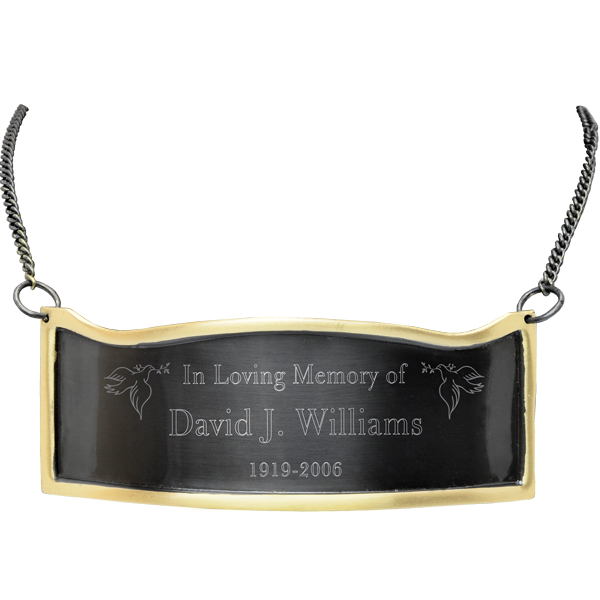 Silver plaque png. Engraved for urns gold