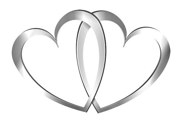 Silver wedding anniversary bell png. Two hearts frames for