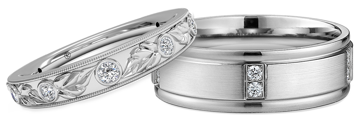 Silver wedding ring png. Matching sets for couples