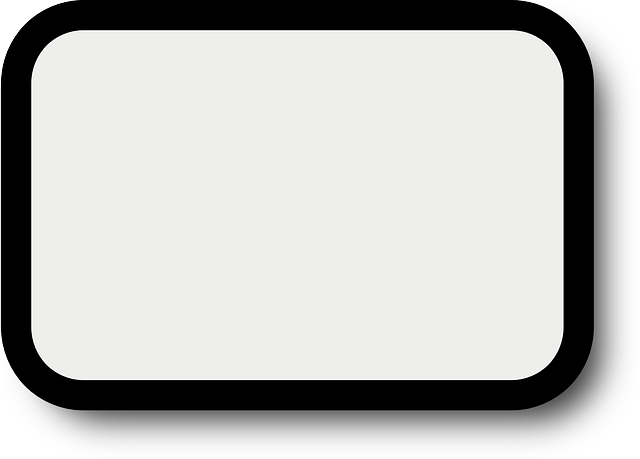 White rectangle png outline. Black simple frame shadow