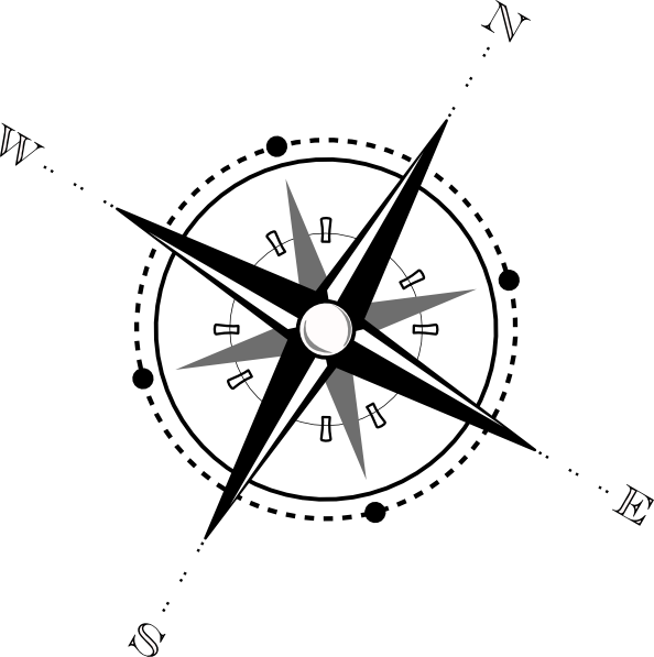 Old drawing compass. Black and white clip