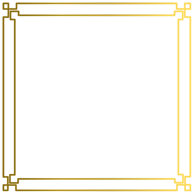 Vector gold photo frame. Simple border png and