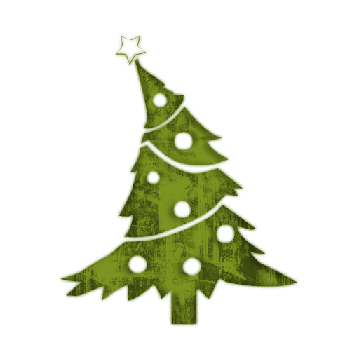 Simple vintage ornaments icon png. Christmas tree down decorated