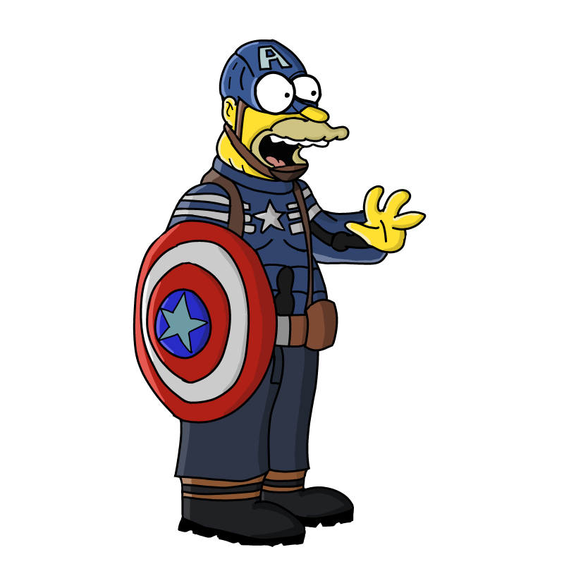 Simpsons captain png. Abe simpson as america