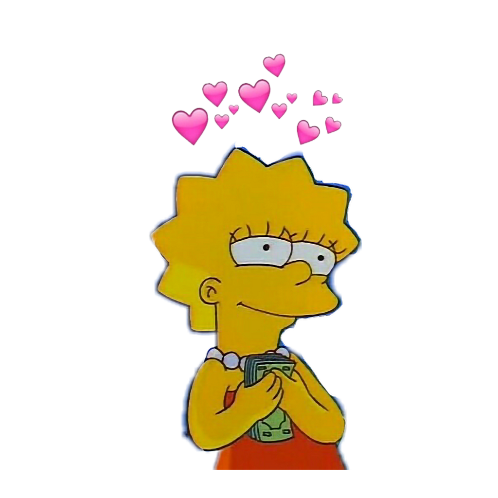 Simpsons drawing cute. Lisasimpson aesthetic money hearts