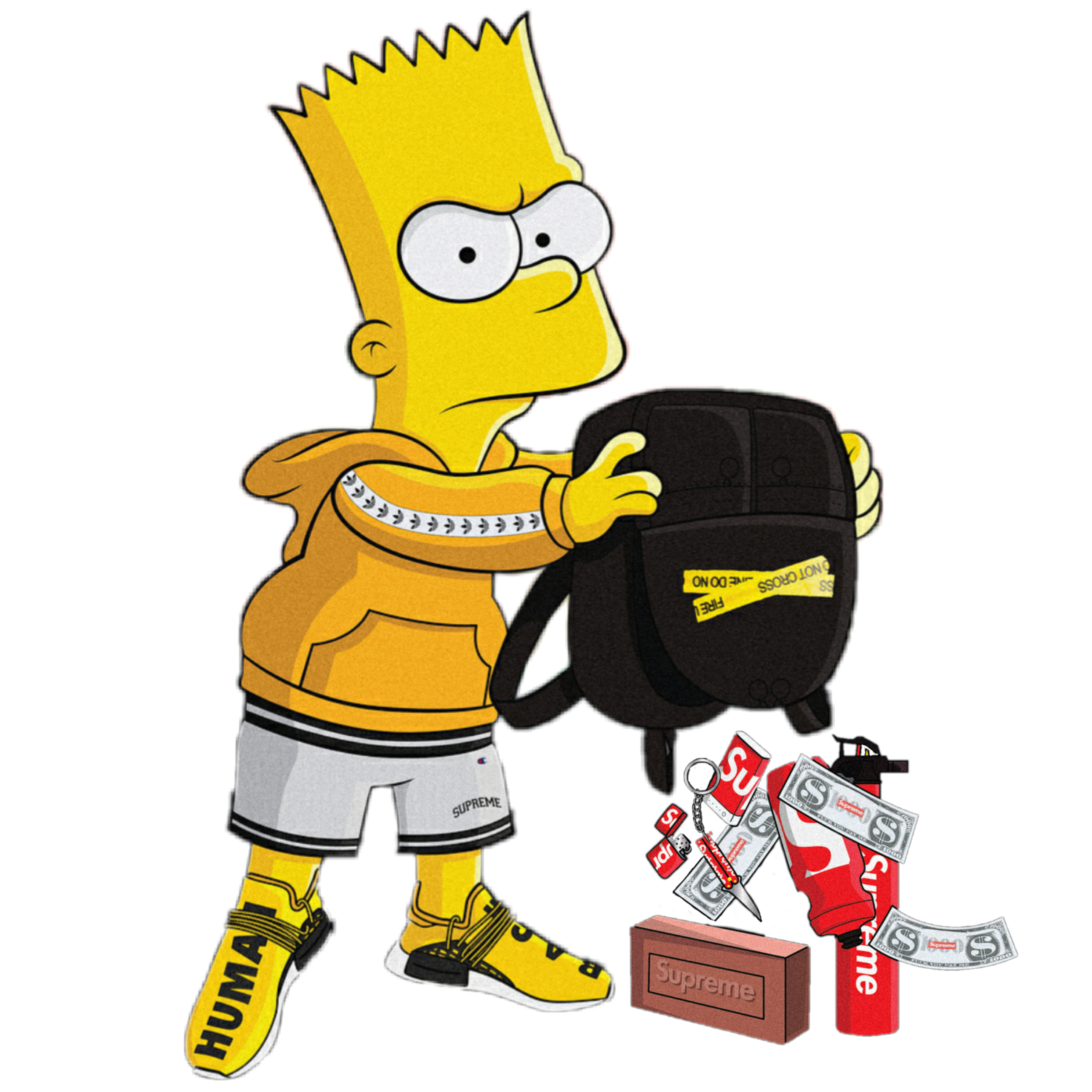 Simpsons drawing supreme. Bart simpson gucci brick