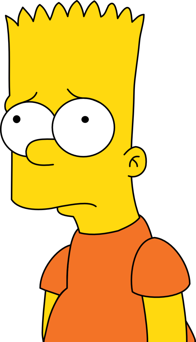 Simpsons transparent lit. Bart disappointed by mighty