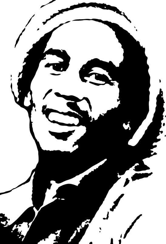 Sing drawing bob marley. Silhouette painting andrew braswell
