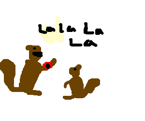 Sing drawing mother. Nazi squirrel teaches baby