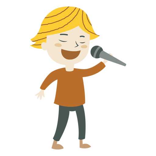 Boy singing cartoon transparent. Singer vector kids vector free library