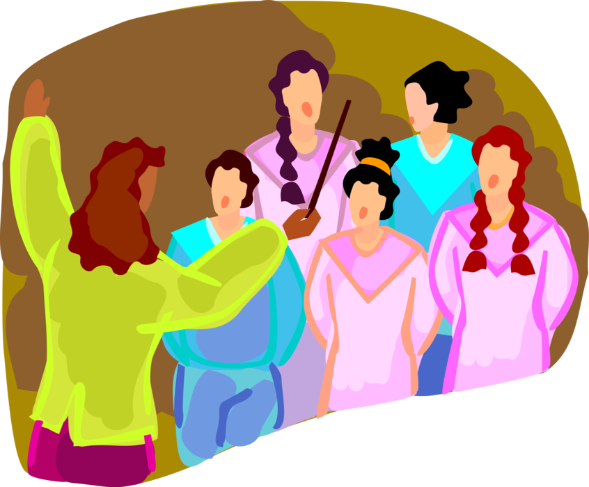 Choir conductor conducts singers. Singer vector kids clipart free library