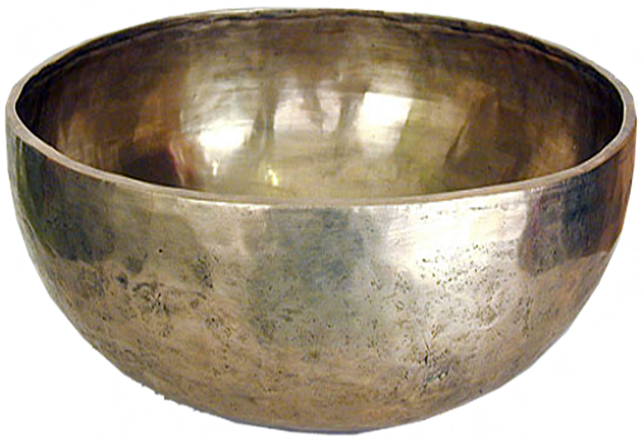Singing bowl png. Buddhist plain silver by