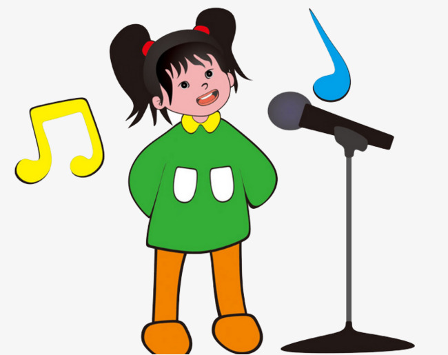 Singing clipart playful kid. A little girl note