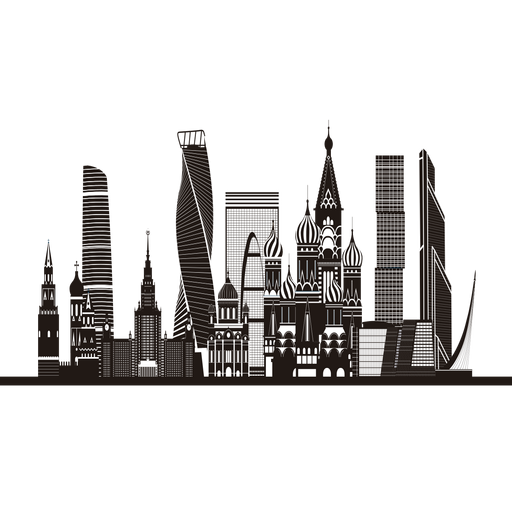 Single skyscraper silhouette png. Moscow skyline transparent svg