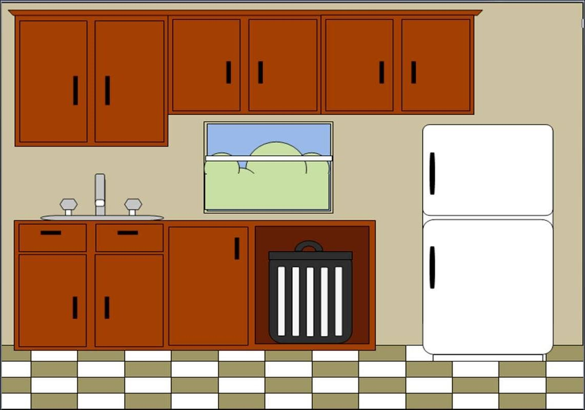 Cartoon clipart kitchen. Cabinet