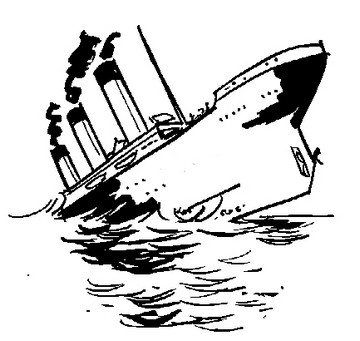 Sink clipart sketch. Titanic sinking drawing at
