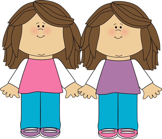Twin drawing pretty girl. Free twins cliparts borders