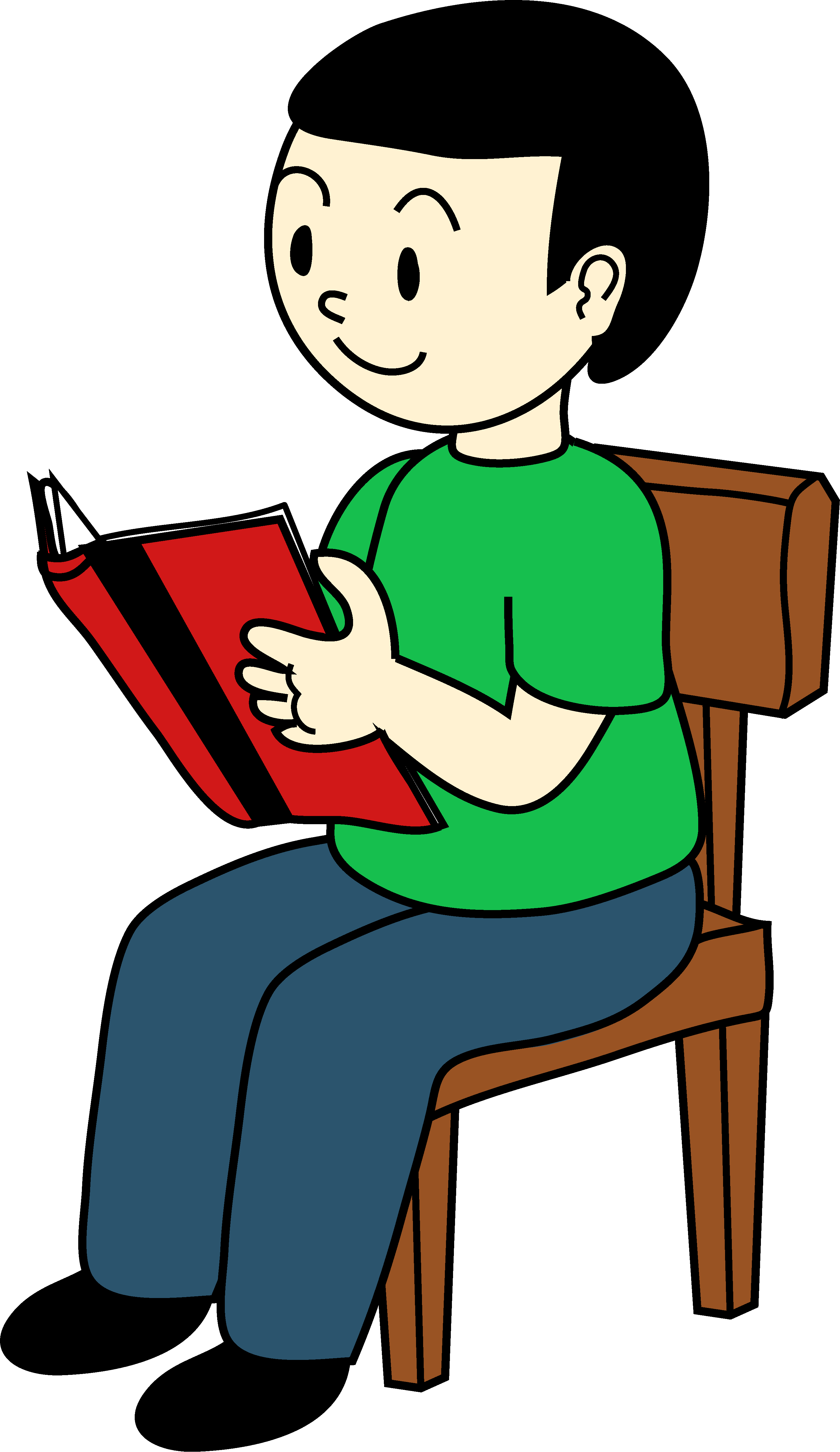 Chair clipart sit in. Boy sitting on reading
