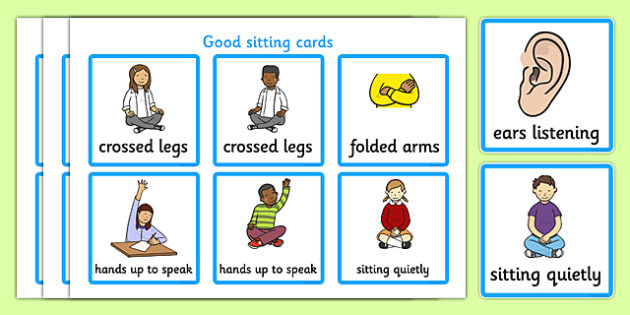 Sit clipart be still. Good sitting cards listen