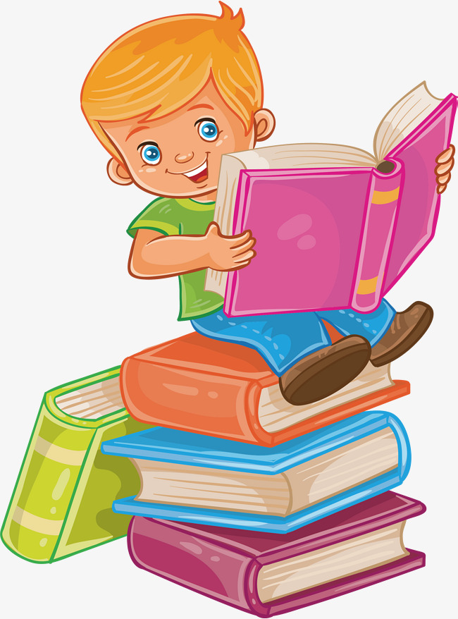 Sit clipart read. In a book vector