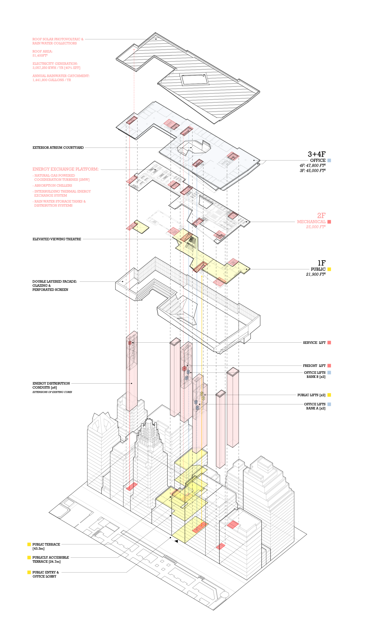 Site drawing axonometric. Building component diagram projects