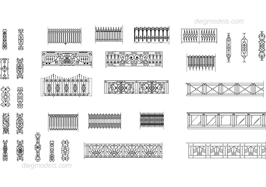 Site drawing fence. Collection of free cad