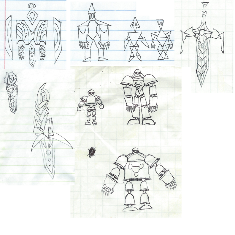 Site drawing hand drawn. Shape characters and weapons
