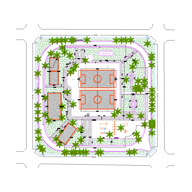 Landscaping drawing cad. Public park design dwg