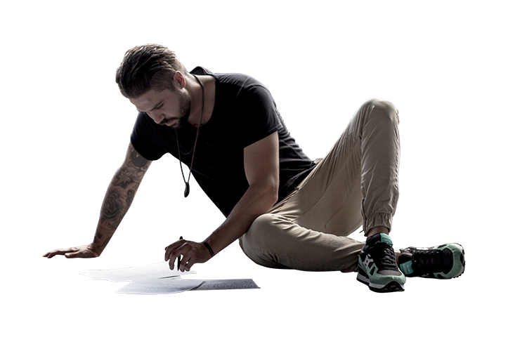 Sitting on floor png. Man drawing architecture people