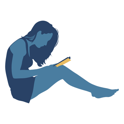 Sitting on floor png. Woman reading book wall