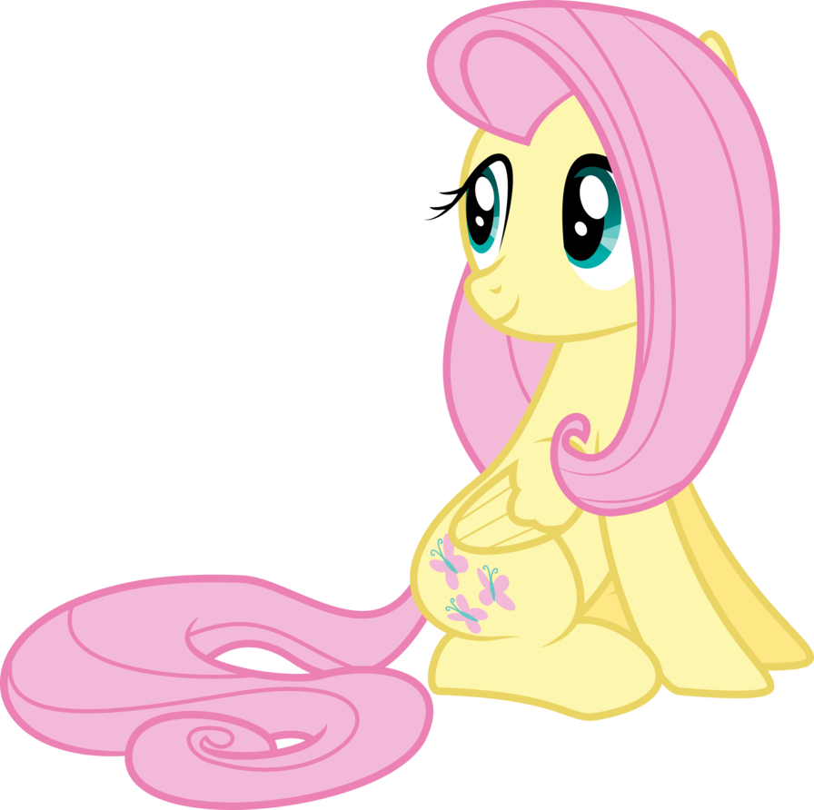 Sitting vector down. Fluttershy by siaphra on